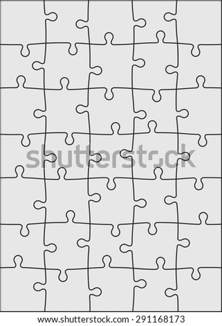 Set of thirty five puzzle pieces. Vector illustration, eps 8. - stock vector