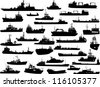Set of 32 (thirty two) silhouettes of sea yachts, towboat and the ships - stock vector