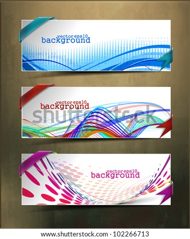 set of three abstract banners &  headers design - stock vector