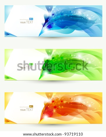 set of three banners, abstract  headers - stock vector