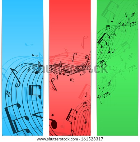 Set of three banners different color with music notes. eps10 - stock vector