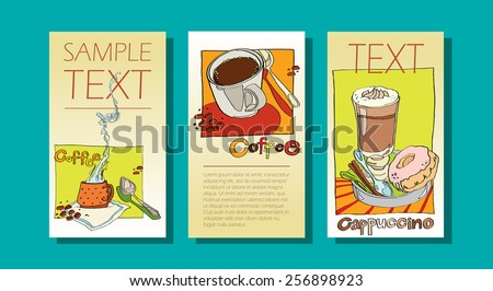 set of three banners on the theme of coffee. illustration of coffee drinks hand-drawn. templates for web design and print greeting cards or menus. idea for cafeteria - stock vector