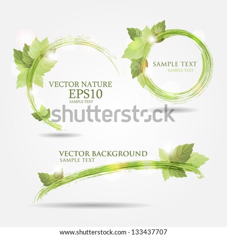 Set of three banners with fresh green leaves and bright light - stock vector