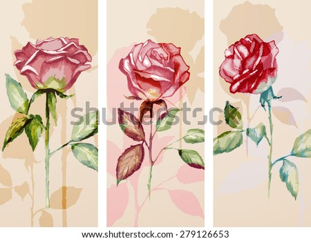 Set of three banners with roses - stock vector