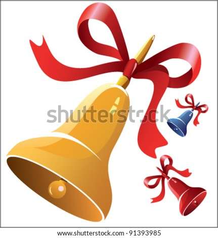 Set of three bells with red ribbons - stock vector