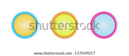 Set of three blank circle buttons with subtle shadow / circle button - stock vector