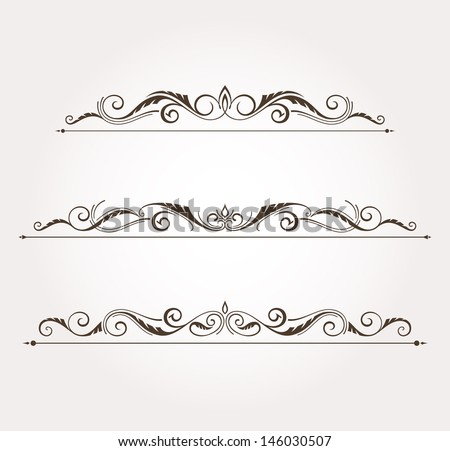 Set of three calligraphic floral design elements and page decoration. Vector illustration - stock vector