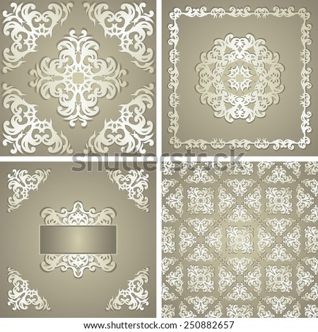 Set of three cards with floral elements and template of seamless floral wallpaper. Pastel colors. Floral decoration           - stock vector