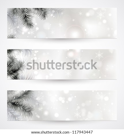 set of three Christmas banners with fir tree - stock vector