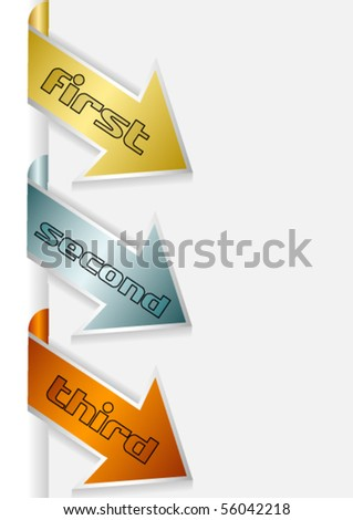 Set of three color arrows (golden, silver and bronze) - stock vector