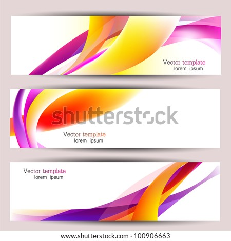 Set of three colorful banners. Designed in the same style - stock vector