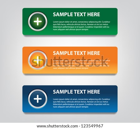 Set of three colorful plastic banners with glossy buttons / icons for infographics, business design, step presentation, number options, reports or workflow layout - stock vector