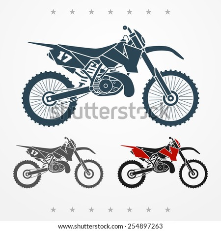 Set of three cross two-stroke flat looking motorcycles - stock vector