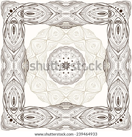 Set of three decorative elements - square frame, round frame and rosette. - stock vector