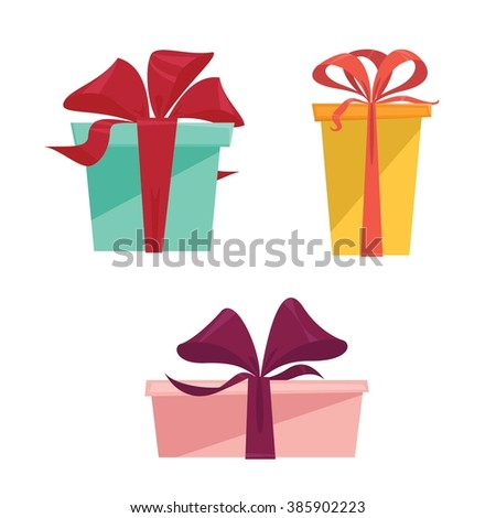 Set of three different colorful isolated present gift boxes - flat style vector illustration  - stock vector