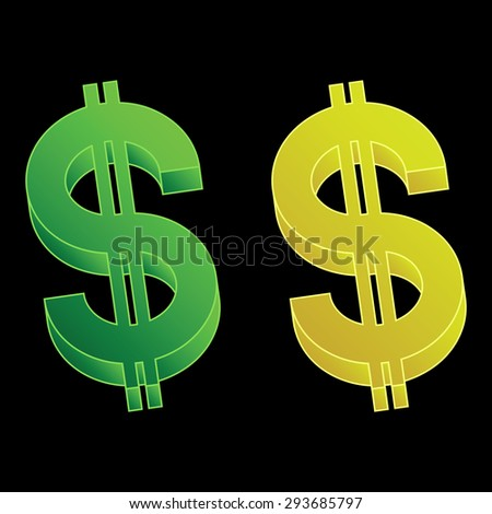 Set of three-dimensional dollar signs. The isolated vector objects. - stock vector