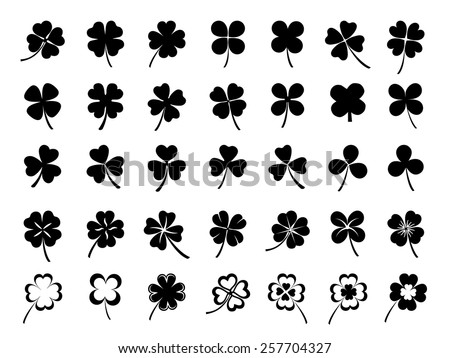 Set of three & four leaf clovers - stock vector