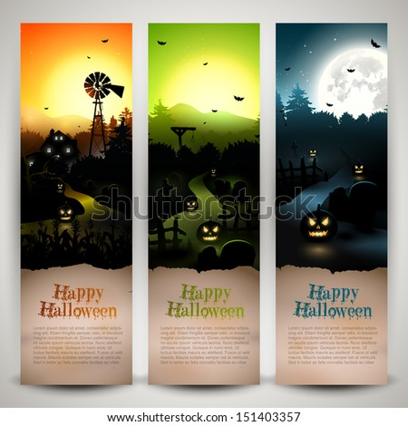 Set of three Halloween banners with copyspace  - stock vector