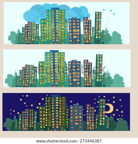 Set of three hand drawn silhouettes of city. Daylight and night. Cloudy weather. Vector illustration. - stock vector