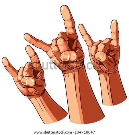 Set of Three Heavy Metal Hands. Vector Illustration - stock vector