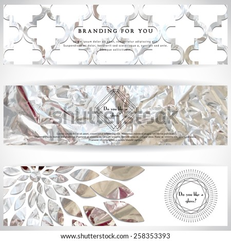 Set of three horizontal banners. Crumpled silver foil basis. Geometric frame in form of cut gems with a sun burst. Place for your text. - stock vector