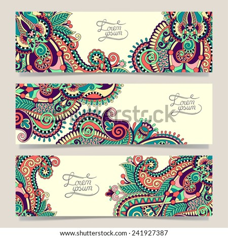 Set of three horizontal banners with decorative ornamental flowers, floral pattern in oriental style, paisley background, vector illustration - stock vector