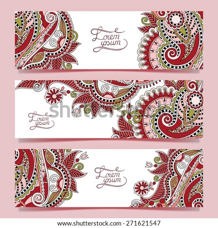Set of three horizontal banners with decorative ornamental flowers, floral pattern in oriental style, paisley background, vector illustration in pink color - stock vector