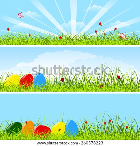 Set of three horizontal postcards with easter eggs, green grass, flowers and insect on blue sky, clouds and sun background, vector illustration - stock vector