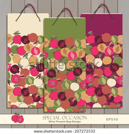 Set of three mock-up Wine Gift Bags on wood texture. Red, white & any wine or spirit present bag design. Vector Editable. Seamless Pomegranate pattern is complete, masked. Pomegranate icon.   - stock vector