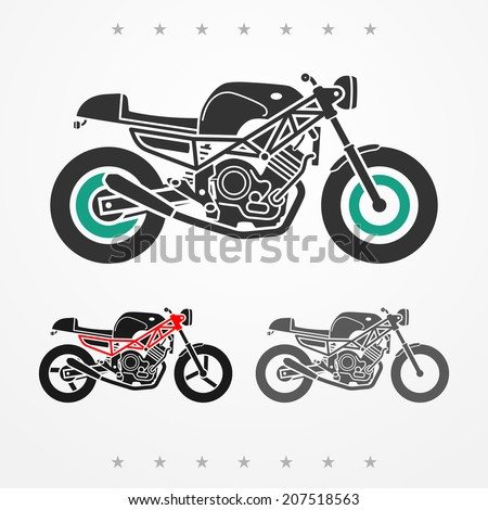 Set of three modern flat looking motorcycles in gray colors - stock vector