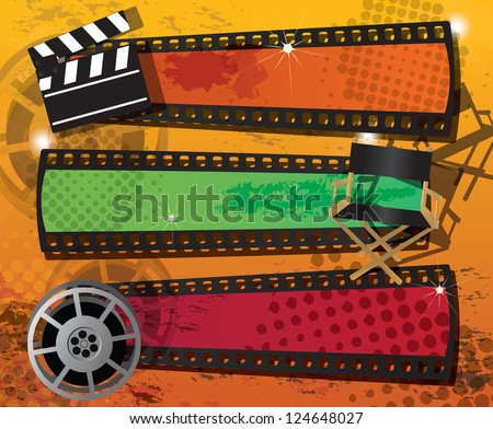 Set of three movie banners on grungy background with place for text, vector - stock vector