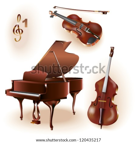 Set of three musical instruments - grand piano, violin and contrabass. - stock vector