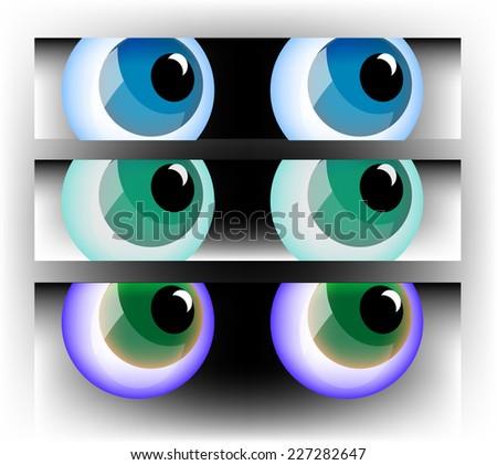 Set of three pairs of cartoon style eyeballs, full rounded under masks. - stock vector