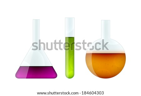 Set of three realistic chemical bulbs of different shapes isolated on white. EPS10 vector image. - stock vector