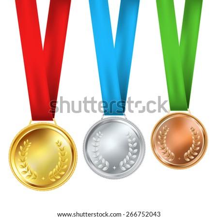 set of three realistic medals - stock vector