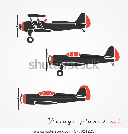 Set of three retro planes - gray silhouettes on white background - stock vector