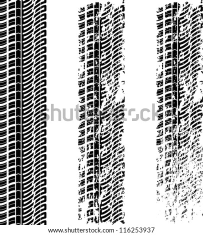 Set of three tire tracks with grunge - stock vector
