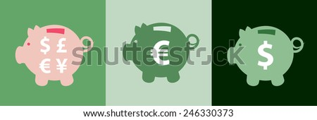 Set of three various piggy bank icons with different currency symbols on them  - stock vector