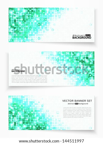 Set of three vector banners with emerald circles - stock vector