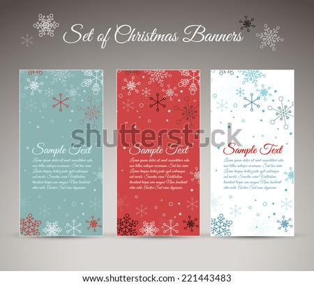 Set of three vector christmas / New Year vertical banners with snowflakes - stock vector