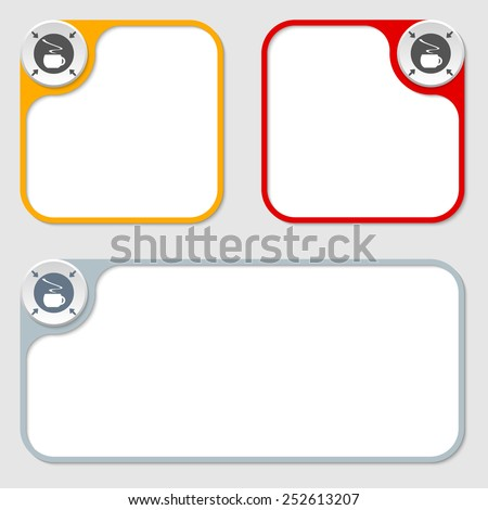 set of three vector frames and cup of coffee - stock vector