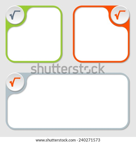 set of three vector frames and radix symbol - stock vector