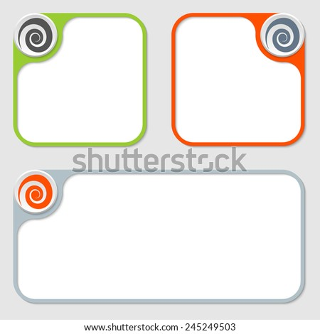 set of three vector frames and spiral - stock vector