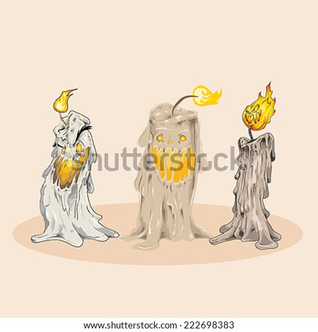 Set of three Vector Halloween Creepy Candle Characters, melted body expressive scary face - stock vector