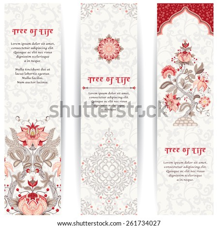 Set of three vertical banners. The motives of the paintings of ancient Indian fabrics. Tree of Life collection. Place for your text. - stock vector