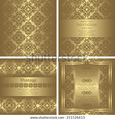 Set of three vintage invitations and template of seamless wallpaper. Vintage background in a gold. Can be used as wedding invitation. Place for text. Luxury background                     - stock vector
