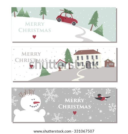 Set of three website horizontal banners for Merry Christmas celebration. - stock vector
