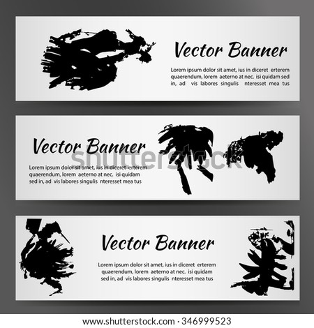 Set of three white banners with inkblots. Vector illustration EPS10 - stock vector