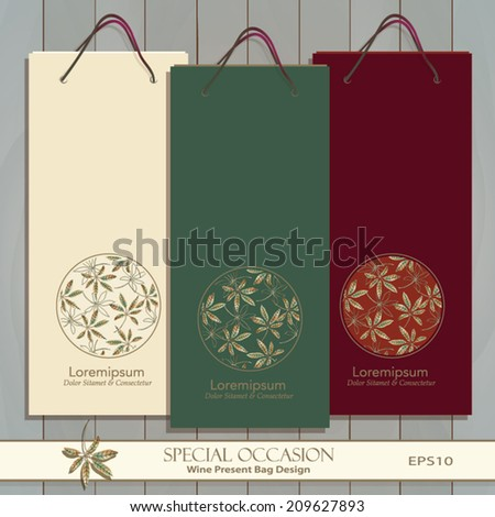 Set of three Wine Gift Bags on wood. Red, white & any wine or spirit present bag design. Autumn Leaf circle decorative banner. Vector is easily editable. Leaf pattern is masked. Golden Leaf icon.  - stock vector