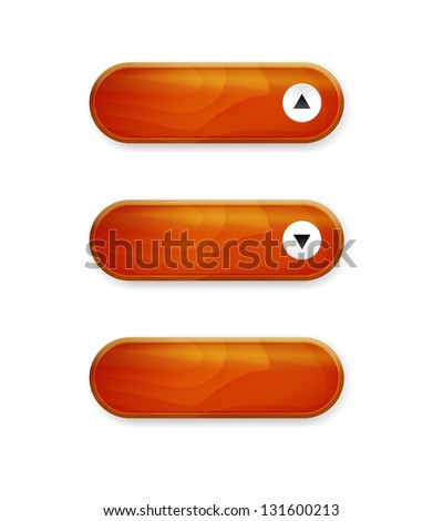Set of three wood style buttons with shadow / wood style buttons - stock vector